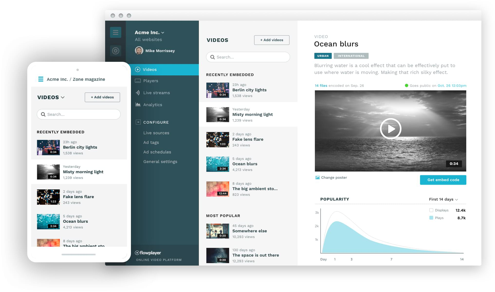 Flowplayer admin user interface in action